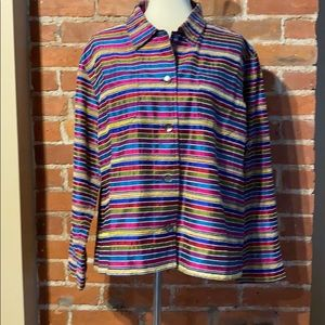 Colorful striped silk button up top